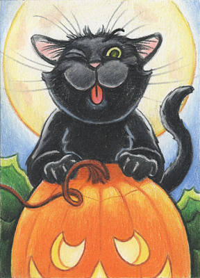 Pumpkin Drawing - Jolly Ollie Halloween by Amy S Turner