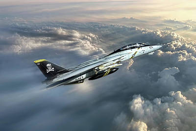 Vietnam War Digital Art - Jolly Rogers F-14 Tomcat by Peter Chilelli