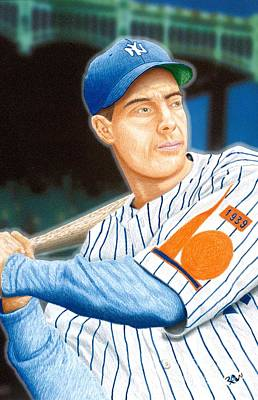 Batting Drawing - Jolti'n Joe Dimaggio by Robert Williams