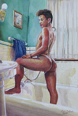 Painting - Jon In The Bathtub by Marc DeBauch