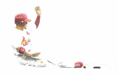 St. Louis Cardinals Drawing - Jon Jay Slide by Andre Kominik