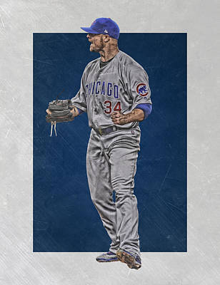 Baseball Glove Mixed Media - Jon Lester Chicago Cubs Art by Joe Hamilton