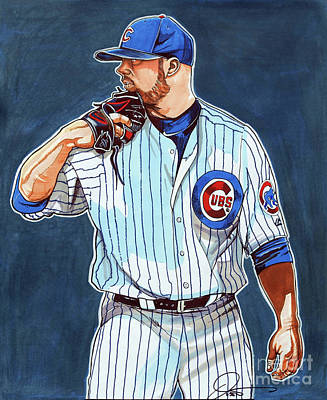 Baseball Art Drawing - Jon Lester Chicago Cubs by Dave Olsen