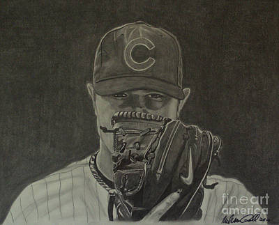 Wrigley Field Drawing - Jon Lester Portrait by Melissa Goodrich