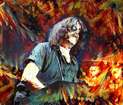 Digital Art - Jon Lord Deep Purple Portrait 5 by Yury Malkov
