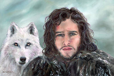 Painting - Jon Snow And Ghost by Denise H Cooperman
