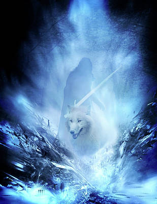 Digital Art - Jon Snow And Ghost - Game Of Thrones by Lilia D