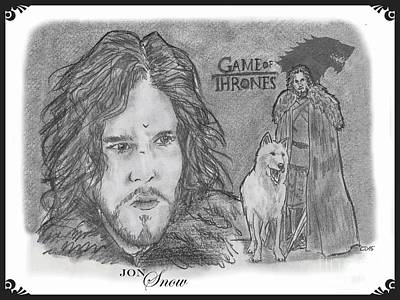 Drawing - Jon Snow by Chris  DelVecchio