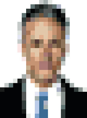 Jon Stewart Digital Art - Jon Stewart Pixelface by Pixel Face