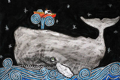 Bible Drawing - Jonah And The Whale by David Hinds