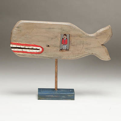 Folk Art Woodcarving Painting - Jonah by James Neill