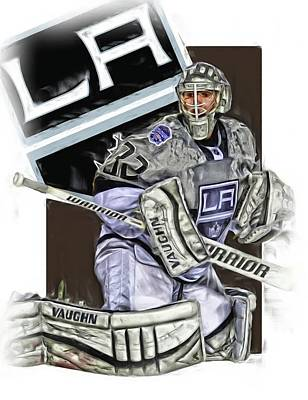 Jonathan Quick Los Angeles Kings Oil Art Art Print by Joe Hamilton