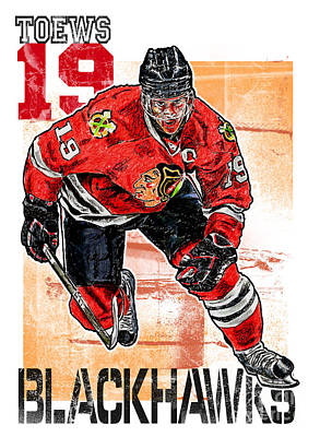 Olympian Drawing - Jonathan Toews by Maria Arango