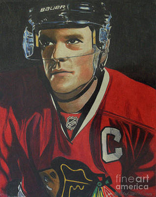 Hockey Drawing - Jonathan Toews Portrait by Melissa Goodrich