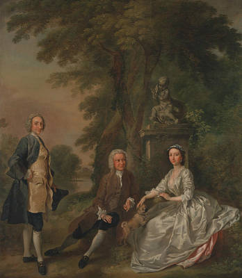 Painting - Jonathan Tyers, With His Daughter Elizabeth, And Her Husband John Wood by Francis Hayman