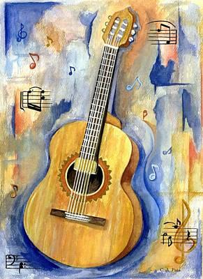 Painting - Jonathan's Guitar by Cheryl Pass