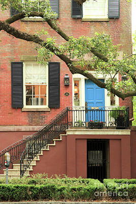 Photograph - Jones Street House With Blue Door by Heather Green