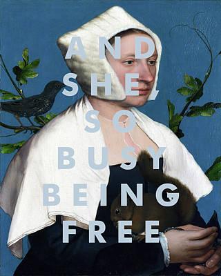 Starlings Digital Art - Joni Mitchell Lyrics Print by Georgia Fowler