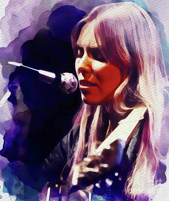 Rock And Roll Paintings - Joni Mitchell, Music Legend by John Springfield