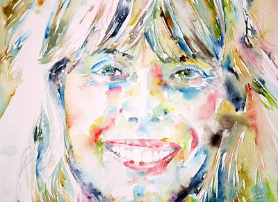 Joni Mitchell - Watercolor Portrait Art Print