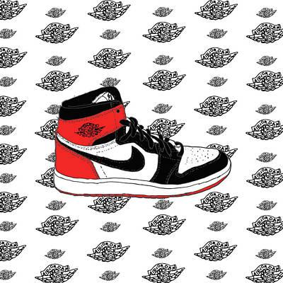 Jordan 1 Black Toe Art Print by Letmedrawyourpicture