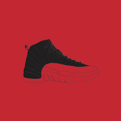 212b3e2b7c3e Air Jordan 1 Digital Art - Jordan 12 Bred by Letmedraw Yourpicture