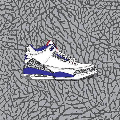 Jordan 3 True Blue Art Print by Letmedrawyourpicture
