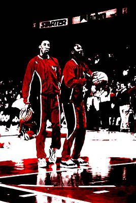 Jordan And Pippen 23b Art Print by Brian Reaves