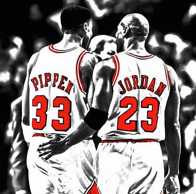 Utah Jazz Wall Art - Mixed Media - Jordan And Pippen 23c by Brian Reaves