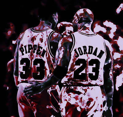 Patrick Ewing Mixed Media - Jordan And Pippen Legacy by Brian Reaves