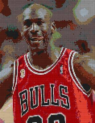 4f074c48e464 Chicago Bulls Royalty Free Images - Jordan Lego Mosaic Royalty-Free Image  by Paul Van