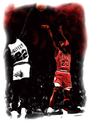 Air Jordan Painting - Jordan Over Salley by Brian Reaves