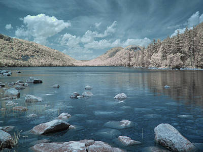 Infrared Photograph - Jordan Pond Blue by Bob LaForce