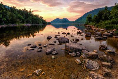 Acadia Photograph - Jordan Pond Sunset - Acadia National Park by Jeff Bazinet