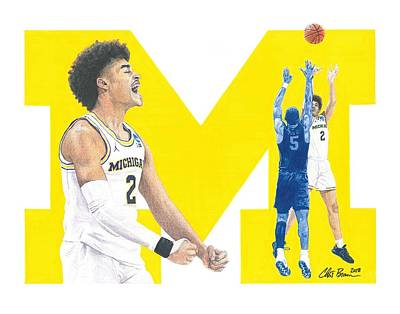 Drawing - Jordan Poole by Chris Brown