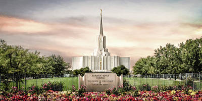 Temple Digital Art - Jordan River Temple by Brent Borup
