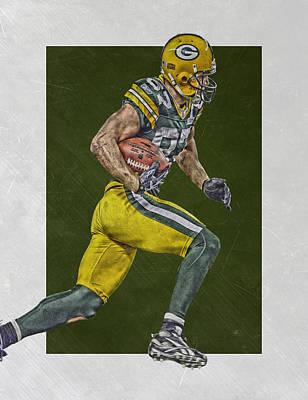 Mixed Media - Jordy Nelson Green Bay Packers Art by Joe Hamilton