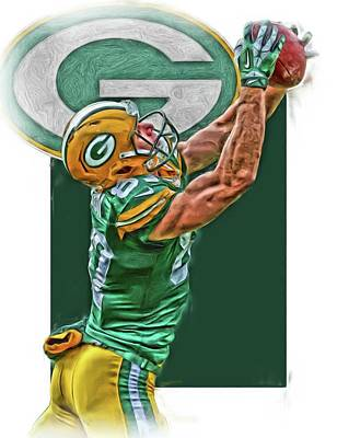 Mixed Media - Jordy Nelson Green Bay Packers Oil Art by Joe Hamilton