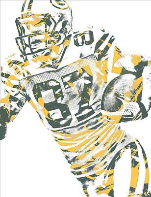 Mixed Media - Jordy Nelson Green Bay Packers Pixel Art 12 by Joe Hamilton