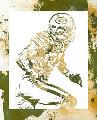 Mixed Media - Jordy Nelson Green Bay Packers Water Color Art 1 by Joe Hamilton