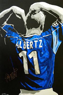 Ally Painting - Jorg Albertz The Hammer by Scott Strachan