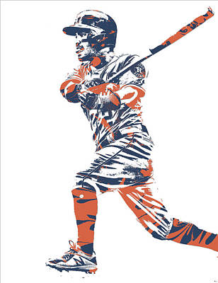 Jose Altuve Houston Astros Pixel Art 14 Art Print