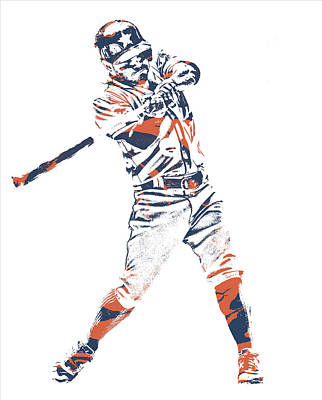 Jose Altuve Houston Astros Pixel Art 21 Art Print
