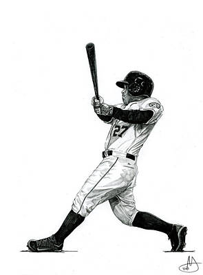 Astros Drawing - Jose Altuve by Joshua Sooter
