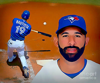 Slugger Painting - Jose Bautista Baseball Poster by Pd