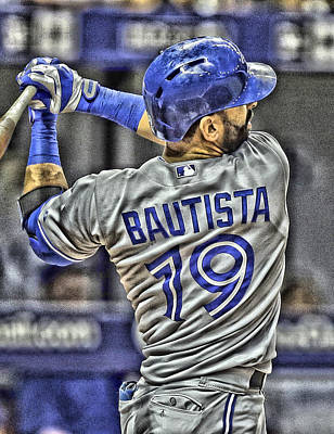Blue Jay Painting - Jose Bautista Toronto Blue Jays by Joe Hamilton