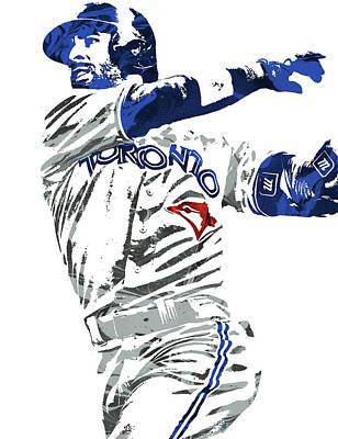 Art Print featuring the mixed media Jose Bautista Toronto Blue Jays Pixel Art 2 by Joe Hamilton