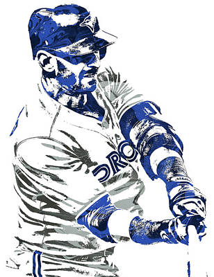 Mixed Media - Jose Bautista Toronto Blue Jays Pixel Art by Joe Hamilton