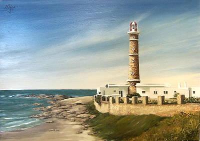 Art Print featuring the painting Jose Ignacio Lighthouse Evening by Natalia Tejera