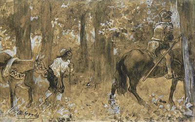 Drawing - Don Quixote And Sancho Panza by Jose Jimenez Aranda